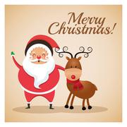 Santa and reindeer icon. Merry Christmas design. Vector graphic Stock Illustration