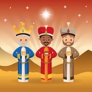 Three wise men icon. Merry Christmas design. Vector graphic - stock illustration