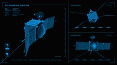 Looping, orthographic view of rotating wireframe model of Maven spacecraft. Stock Footage