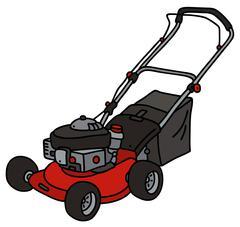 Red garden lawn mower - stock illustration