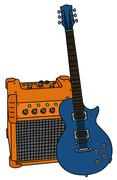 Blue electric guitar and the combo Stock Illustration