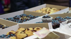 Variety of sweet baked desserts at confectionery or coffee shop, small business Stock Footage