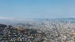 Wide Day Timelapse of Downtown San Francisco With Fog Stock Footage