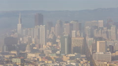 Downtown San Francisco Fog View From Twin Peaks Stock Footage
