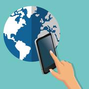 Smartphone global communication earth planet icon. Vector graphi Stock Illustration