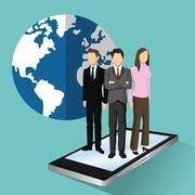 businesswoman businessman human resources icon. Vector graphic - stock illustration
