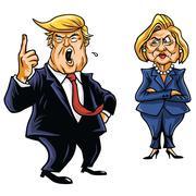 Presidential Candidates Donald Trump Vs Hillary Clinton Stock Illustration
