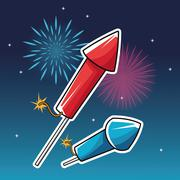 Firework celebration explosion night icon.  Vector graphic Stock Illustration