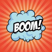 Boom bomb cloud striped explosion icon. Vector graphic Stock Illustration