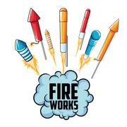 Firework celebration explosion night icon.  Vector graphic Stock Illustration