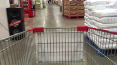Shopping wagon chart in supermarket time lapse Stock Footage
