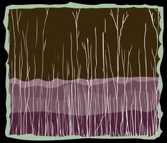Abstract birch tree and mountain background Stock Illustration