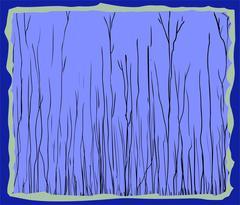 Blue framed illustration of tall thin trees Stock Illustration