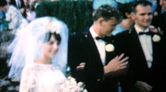 Bride And Groom Leaving Church After Wedding-1969 Vintage 8mm film Stock Footage