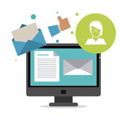 Envelope and computer icon. Email design. Vector graphic Stock Illustration