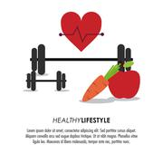 Weight heart apple carrot icon. Healthy lifestyle design. Vector Stock Illustration