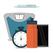 Weight chronometer bottle  icon. Healthy lifestyle design. Vecto Stock Illustration