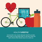bike and heart pulse icon. Healthy lifestyle design. Vector grap - stock illustration