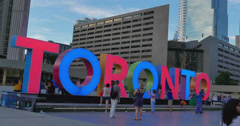 Nathan Phillips Square in Downtown Toronto Stock Footage
