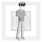 Boy anime male manga cartoon icon. Vector graphic Stock Illustration