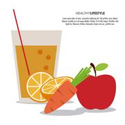 Apple and carrot icon. Healthy food. Vector graphic - stock illustration