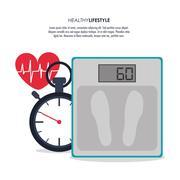 Scale chronometer heart icon. Fitness design. Vector graphic Stock Illustration