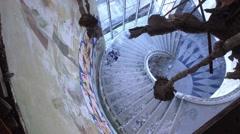 Abandoned Panoramic Tower  MONSANTO Lisbon - street art grafitti work Stock Footage