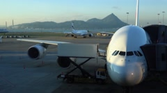 View airplane movements International Airport in Chek Lap Kok Island. China-Dan Stock Footage