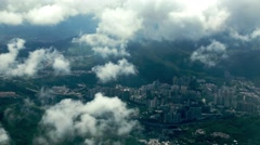 Wonderful Aerial view with clouds of the Isla Hong Kong city in the Mountain-Dan Stock Footage