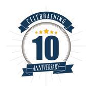 10 Year. Celebrating Anniversary. Vector graphic - stock illustration