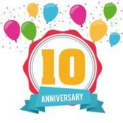 10 Year. Celebrating Anniversary. Vector graphic Stock Illustration