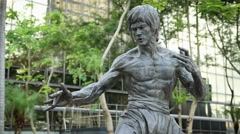 Bruce Lee statue at the Garden of Stars in Kowloon, Hong Kong, China-Dan Stock Footage