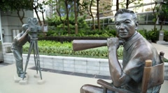 Statues films to movie at the Garden of Stars in Kowloon, Hong Kong, China-Dan Stock Footage