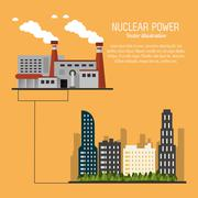 Nuclear plant power city urban trees icon. Vector graphic Stock Illustration