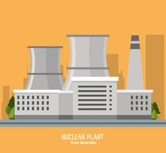 Nuclear plant power trees industry icon. Vector graphic Stock Illustration