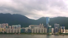 Hongkong City with ships and tour boats over Pearl river in Victoria Harbour-Dan Stock Footage