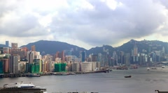Hongkong City with ships and tour boats over Pearl river in Victoria Harbour-Dan - stock footage