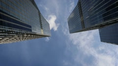 Modern tall tower in financial district in Hong kong, skyscraper business-Dan Stock Footage