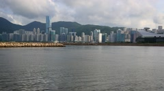 View of Hong Kong Cityscape day whit clouds, skyline of the city Kowloon -Dan Stock Footage