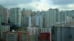 Top View of Hong Kong Urban City Lines whit a mountain and clouds-Dan Stock Footage