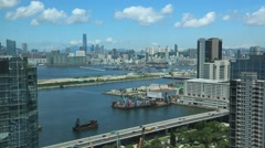 Top View Hong Kong Cityscape day whit clouds, skyline of the city Kowloon -Dan Stock Footage