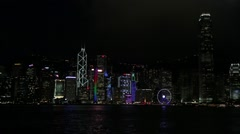 Hong Kong Island skyline with skyscrapers at night, City view of Kowloon -Dan Stock Footage