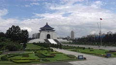 4k Majestic monument Chiang Kai Shek memorial hall in beautiful day in Taipe-Dan Stock Footage