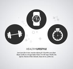 Watch weight and chronometer icon. Healthy lifestyle design. Vec Stock Illustration