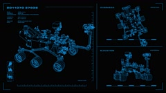 Looping, orthographic view of rotating wireframe model of Curiosity Rover. Stock Footage