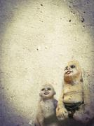 scary children ghost doll - stock illustration