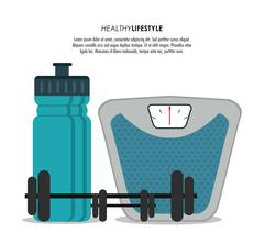 scale weight and bottle icon. Healthy lifestyle design. Vector g - stock illustration