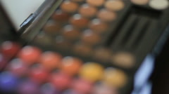 Professional eye make-up palette close-up Stock Footage