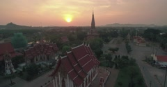 Chalong Temple Sunsrise in Phuket Ascending Aerial Drone Shot Stock Footage