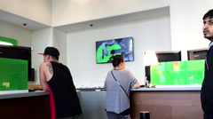 People line up for waiting service inside TD bank - stock footage